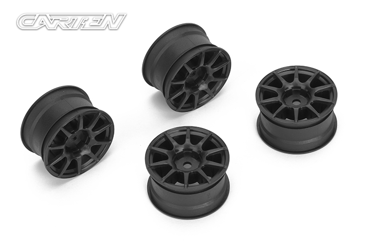 10 Spoke Wheel +1mm (Black) (4PCS)